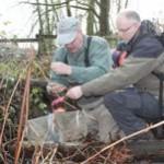 ARMS volunteers setting juvenile fish traps at Morse Creek